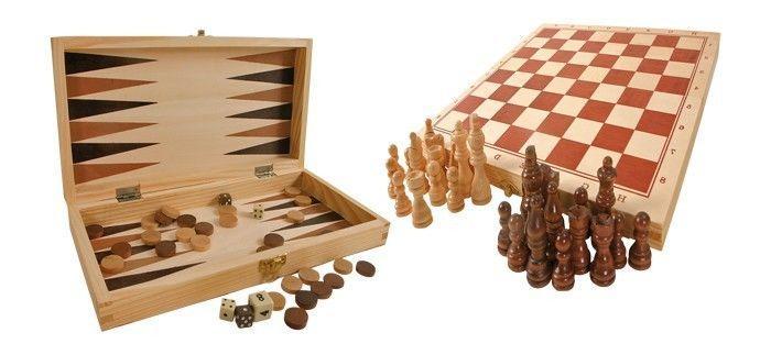 Dama, scacchi, dadi raccolta in legno gioco di società