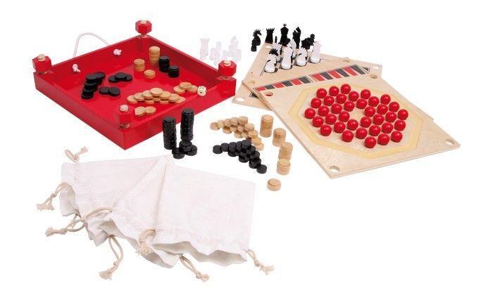 Raccolta giochi di società 5 in 1 in legno gioco