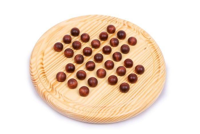 Solitario palla di legno con pallini gioco di strategia per bambini