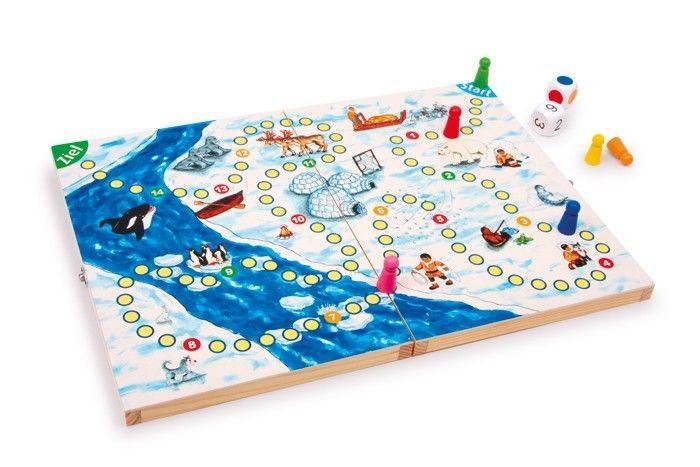 Gioco da tavola e da viaggio in legno Esquimese con dadi. 2-4 giocatori
