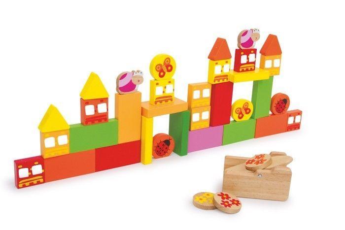 Mira e tira con catapulta e pedine in legno gioco per bambini