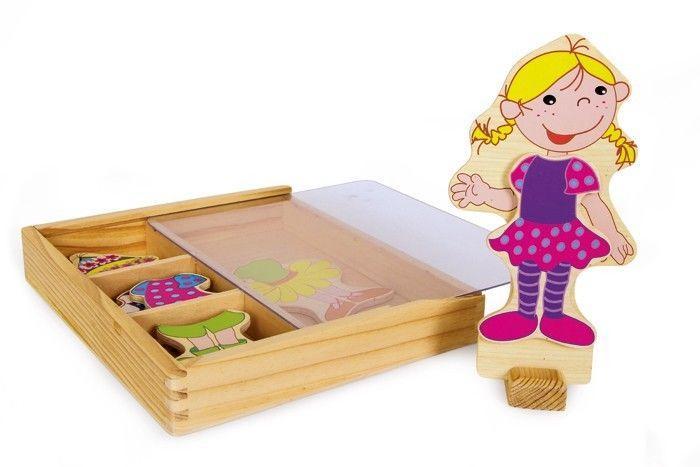 Bambola da vestire legno con guardaroba,regalo,gioco bambina