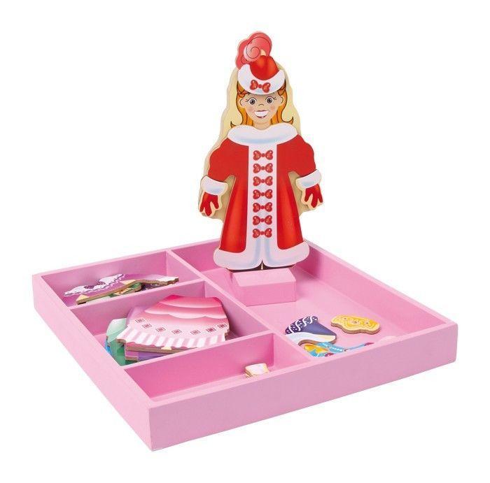 Bambola da vestire principessa in legno con guardaroba,regalo,gioco bambina
