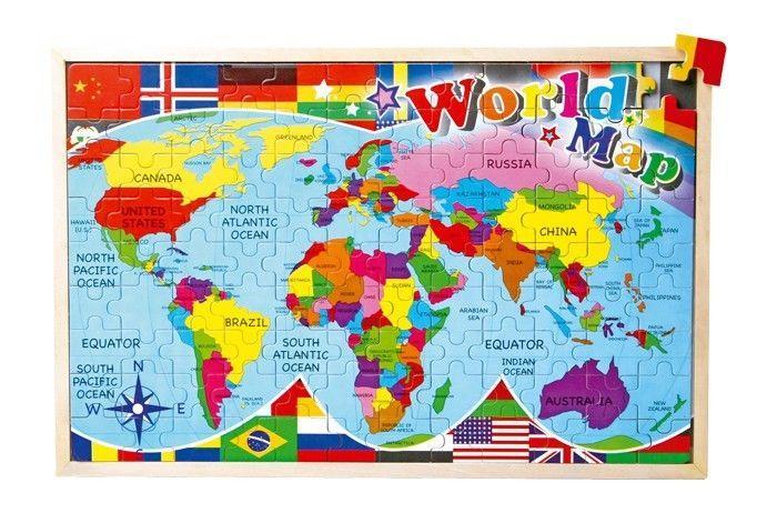 Puzzle in legno carta geografica del mondo 108 pezzi