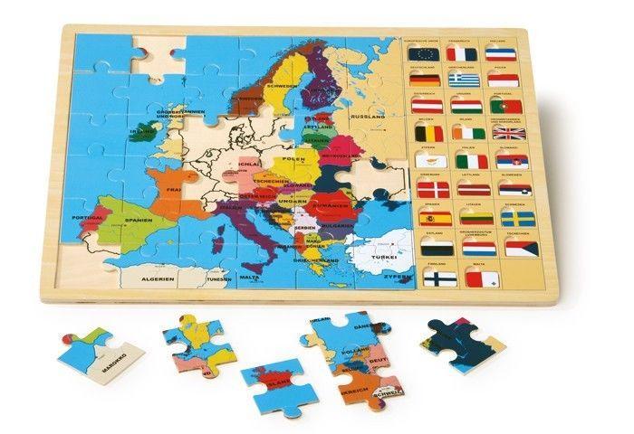 Puzzle in legno europa con bandiere gioco per bambini