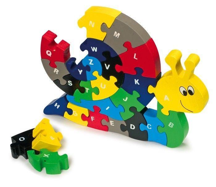 Puzzle lumaca ABC legno gioco x bambini x imparare alfabeto