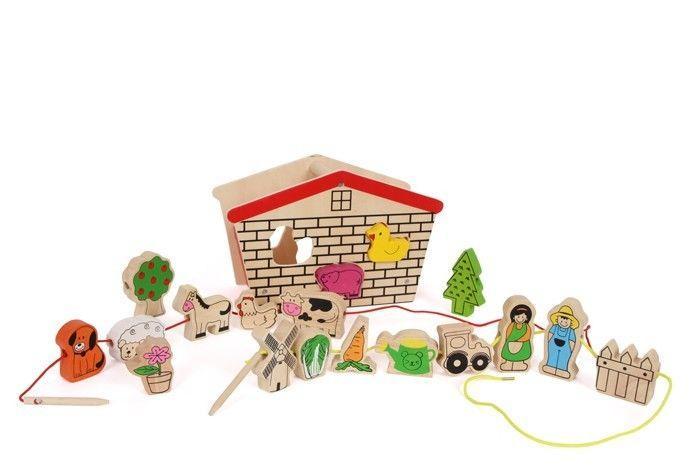 Fattoria da infilare in legno gioco per bambini con animali