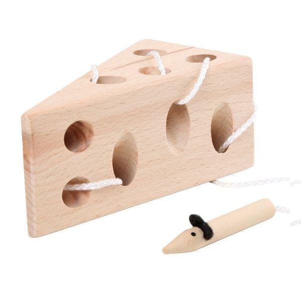 Formaggio da infilare in legno gioco per bambini con topo