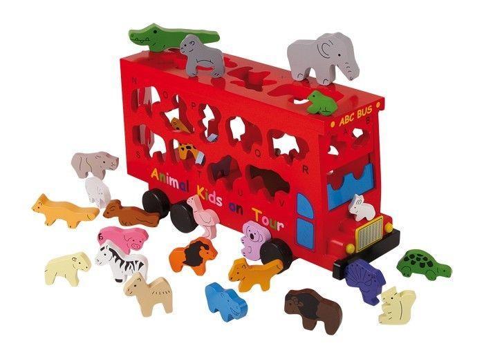 Autobus  con animaili forma di lettere ABC gioco per bambini in legno