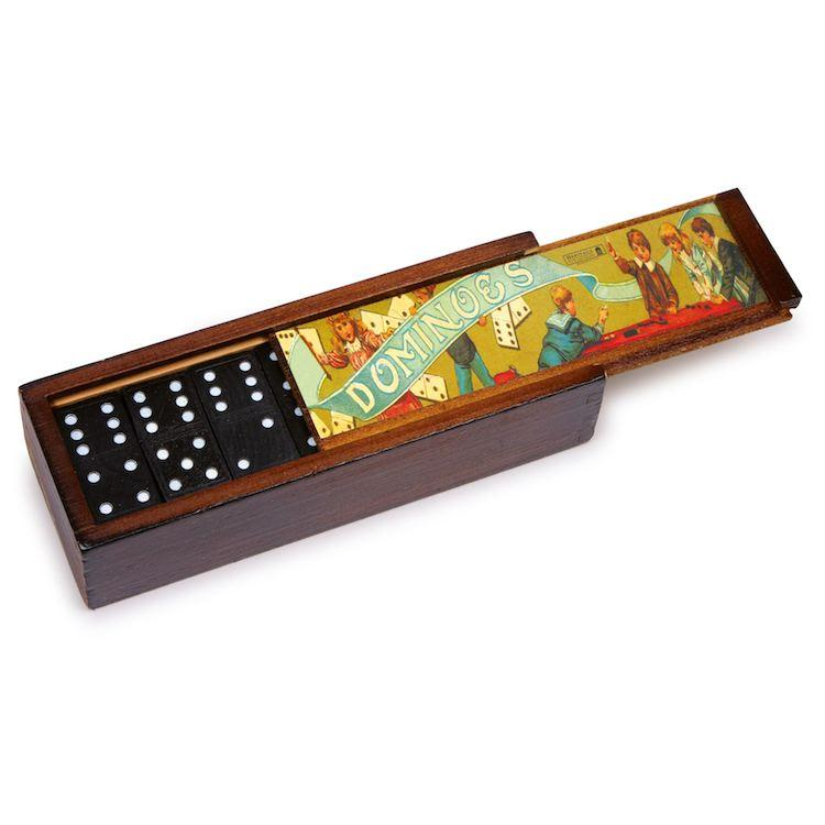 Domino nostalgico con scatola legno gioco società. Set 2 pezzi