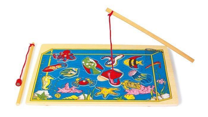Gioco di pesca 2 canne magnetiche legno giocattolo di società x bambini
