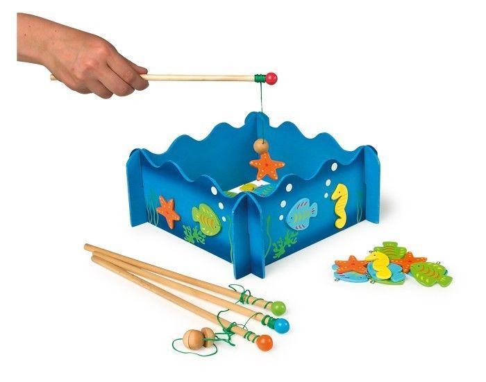 Gioco di pesca con pesci e cavallucci in legno di società x bambini