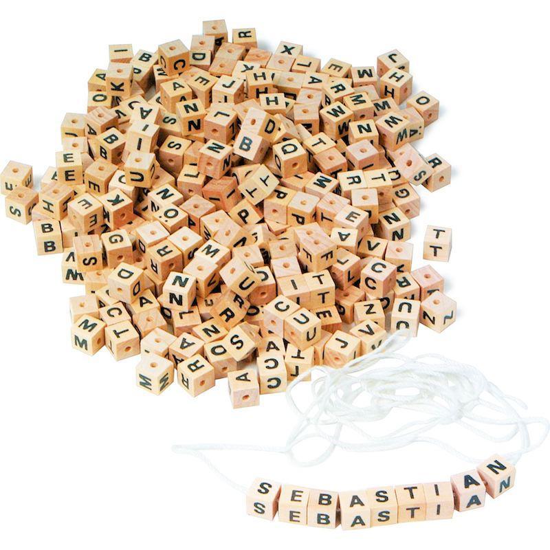 Dadi con lettere da infilare in legno gioco bambini Legler 2126