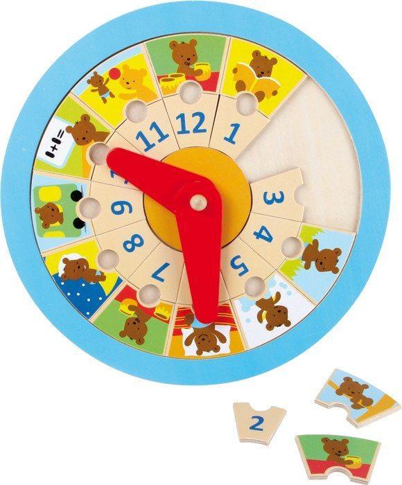 Orologio in legno Impara l´ora Piccolo orso.gioco bambino
