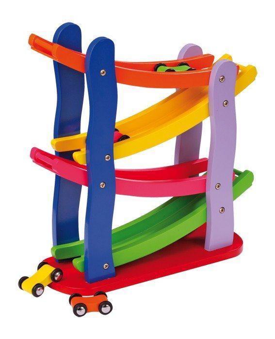 Pista/torre zip zap macchinine colorata in legno, giocattolo per bambini