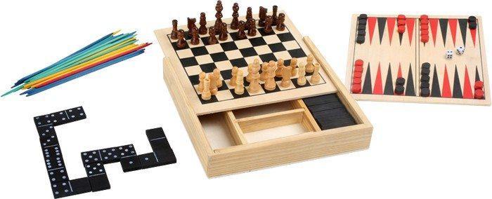 raccolta Giochi classici 5 in 1 dama,scacchi,domino in legno gioco