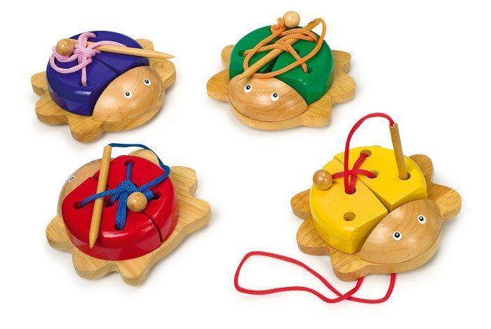 Coleottero in legno da infilare, set da 4,gioco allenamento motricità bambini