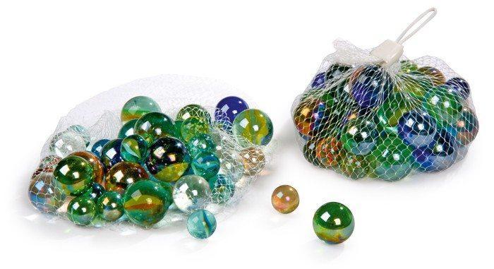 Biglie di vetro colorate diverse dimensioni, 80 pezzi
