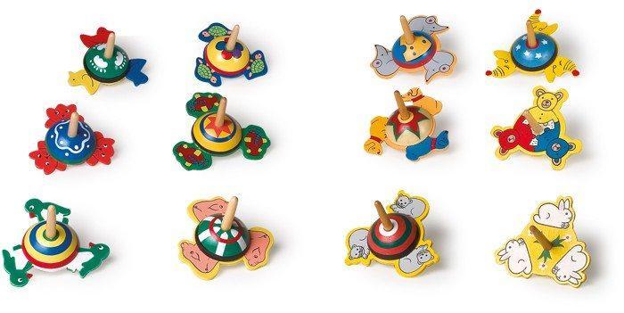 Trottola con motivi diversi in legno set da 12 gioco classico bambini
