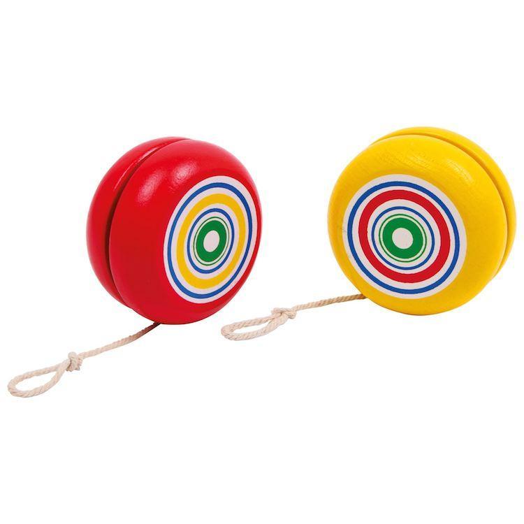 Yo Yo in legno set da 8 colorati giallo e rosso, gioco classico
