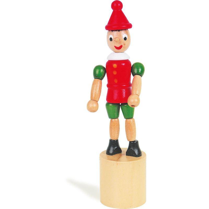 Pinocchio a pressione in legno, idea regalo o bomboniera battesimo