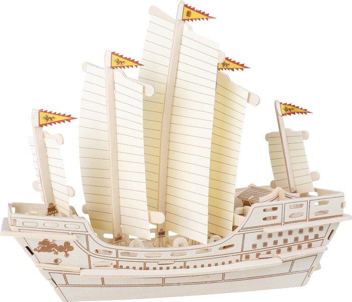 Puzzle 3D Veliero Zheng He con base in legno