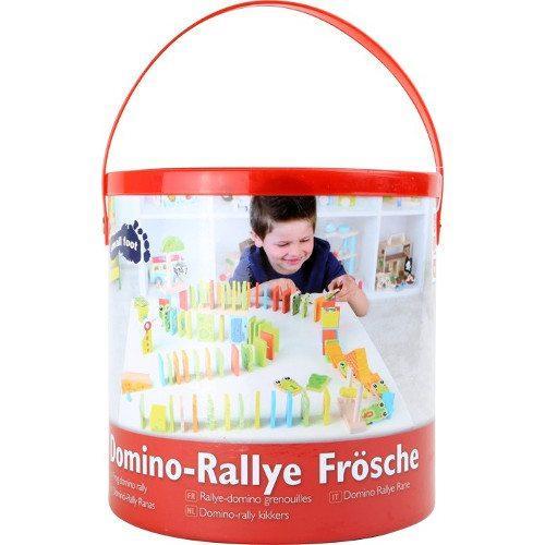 Domino in legno con lettere e numeri Rally, Rane. Gioco per bambini