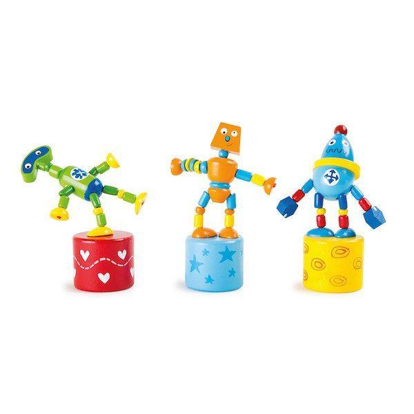 Robot a pressione ballerini in legno. 3 pezzi Legler 10157