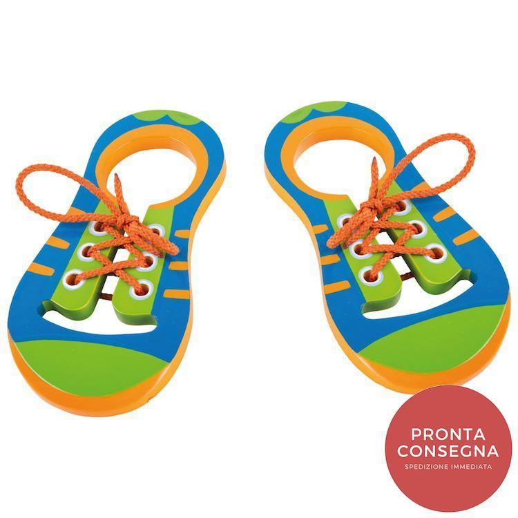 Gioco Montessori Allacciare le scarpe in legno 2 pezzi