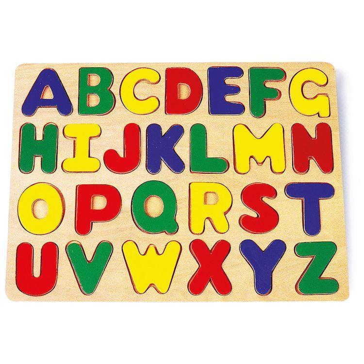 Puzzle in legno ad incastro con lettere per imparare alfabeto