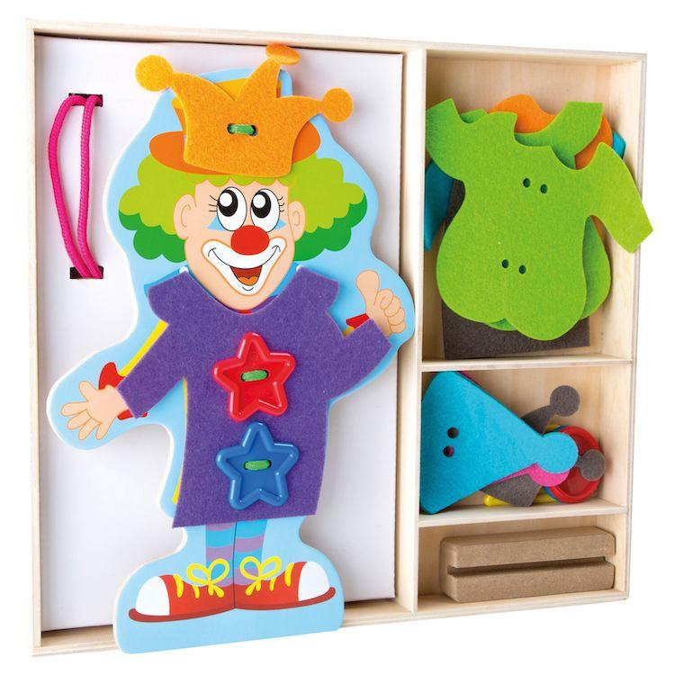 Infila i vestiti Clown gioco Montessori