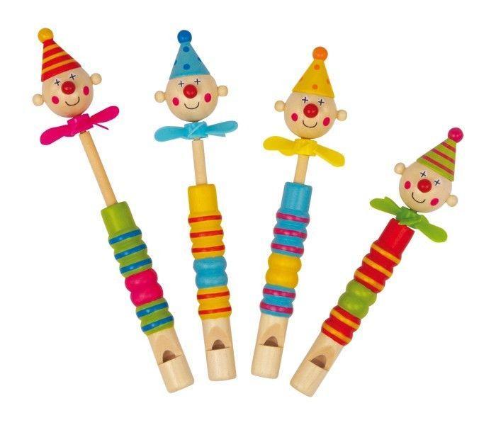 Flauti Clown con eliche in legno Strumento Musicale giocattolo per bambini 4 pezzi