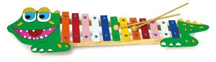 Xilofono forma coccodrillo strumento musicale legno gioco bambini