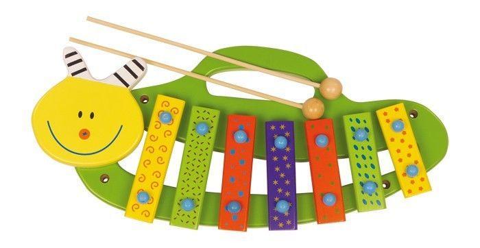 Xilofono Bruco strumento musicale in legno gioco bambini