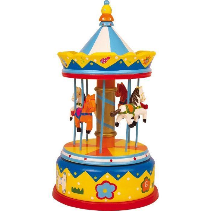 Carillon Giostra con cavalli in legno musica e suono giocattolo bambini