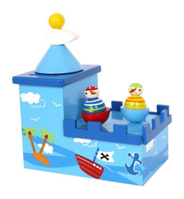 Carillon e salvadanaio Pirati legno musica e suono giocattolo bambini