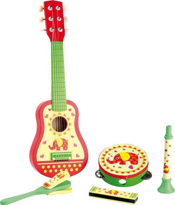 Set da 5strumenti musicali con chitarra tamburello fisarmonica flauto e sonaglio bambini