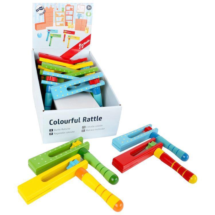 Raganelle colorate strumento musicale bambini espositore display 12 pezzi