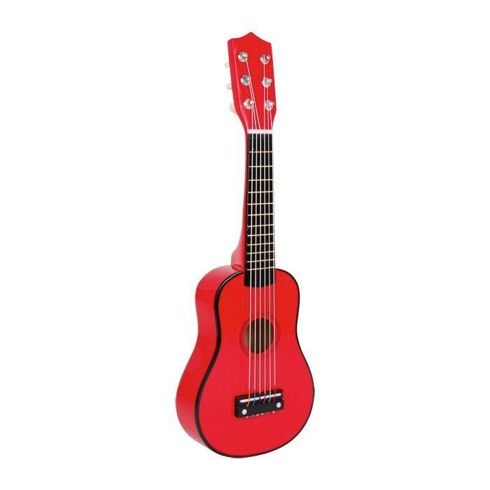 Chitarra giocattolo per bambini in Legno Rossa Strumento Musicale Giocattolo