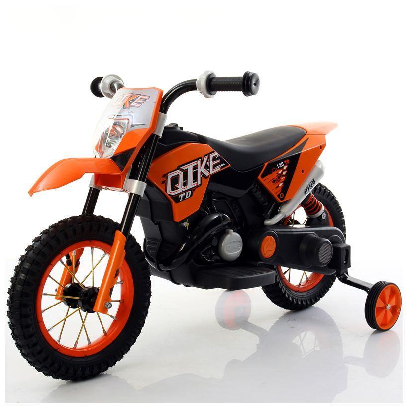 Moto Elettrica Bambini CROSS Arancio con ruote in gomma