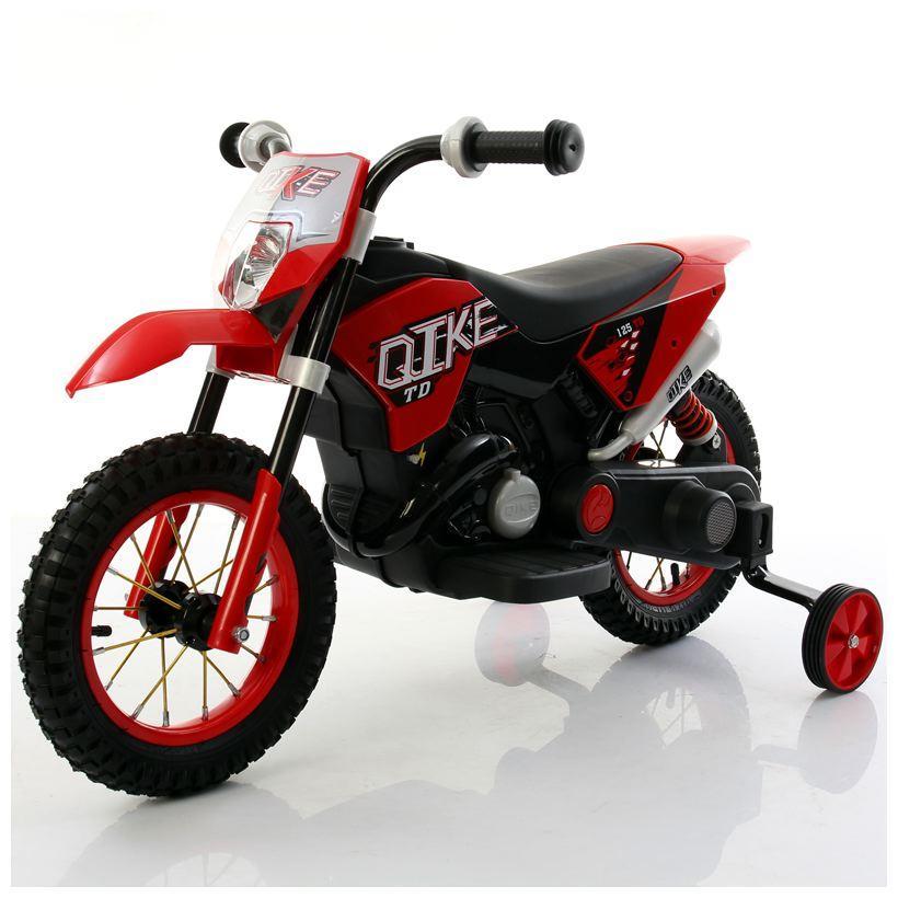 Moto Elettrica Bambini CROSS Rosso con ruote in gomma