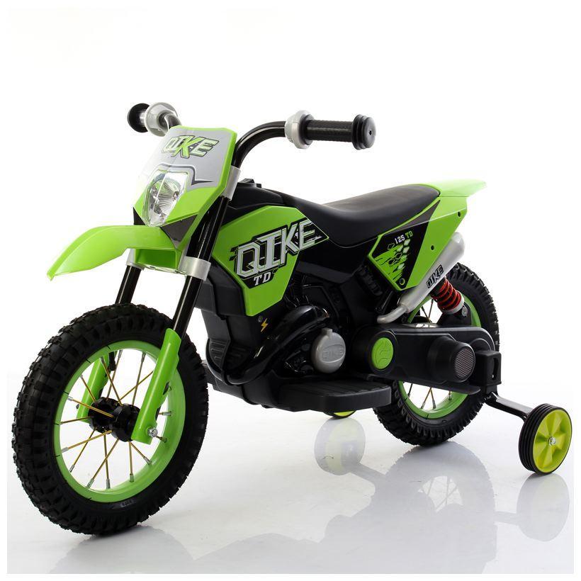 Moto Elettrica Bambini CROSS VERDE con ruote in gomma