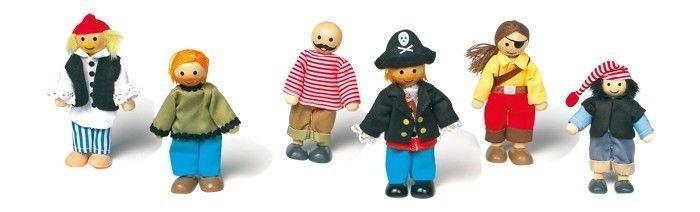 Kit 6 personaggi pupazzetti pieghevoli in legno nave Pirati