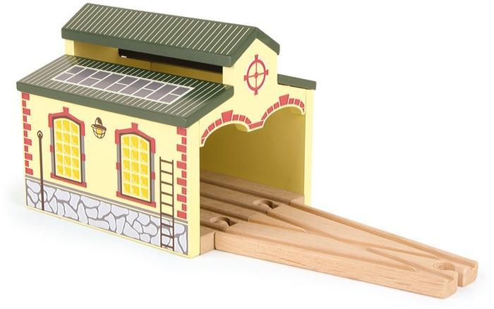 Capannone ferroviario Nostalgico in legno per pista trenino