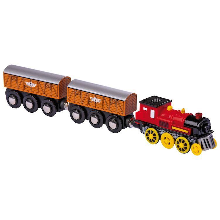 Locomotiva elettrica con due rimorchi pista trenino in legno