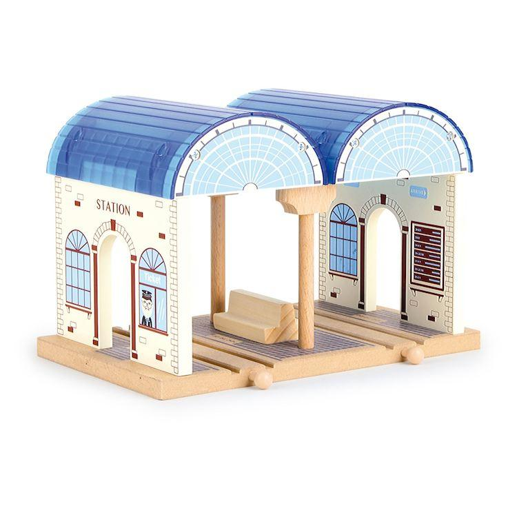 Stazione centrale Nostalgica in legno accessorio per pista giocattolo per trenini