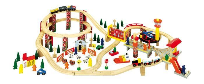 Pista Treno giocattolo Parco industriale in legno 114 pezzi