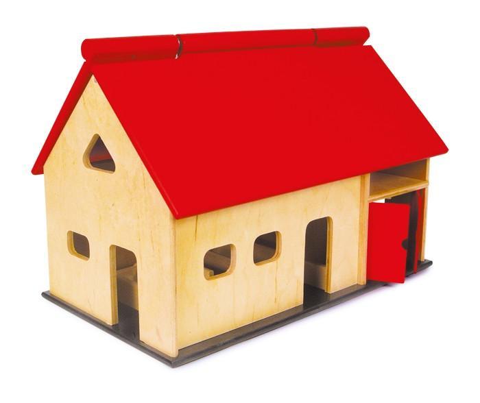 Grande casa-fattoria in legno con animali
