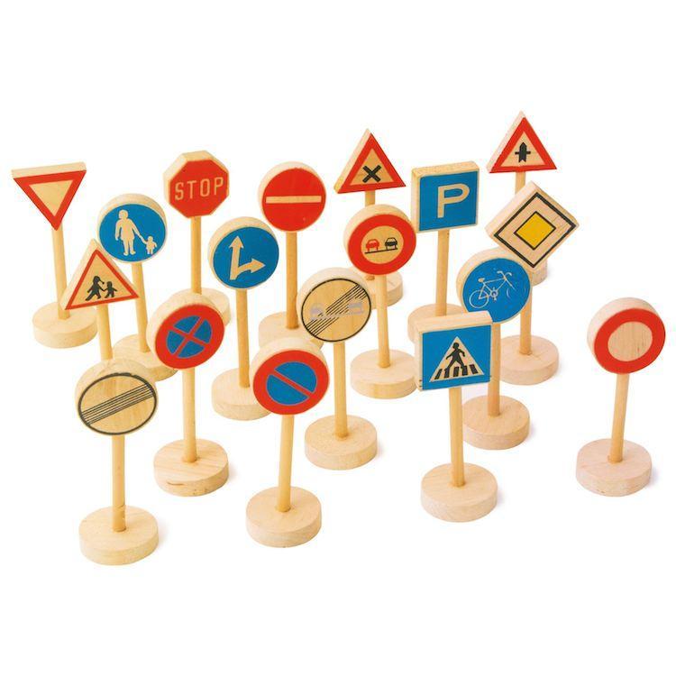 Set 18 pezzi Segnali stradali in legno gioco Legler 7064