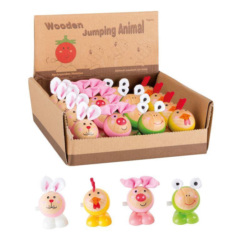 Display Espositore 16 pezzi animaletti in legno gioco bambini saltellanti